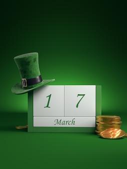 Salve o calendário de blocos de data branca para o dia de são patrício, 17 de março, com chapéu de duende e pote de ouro, em verde.