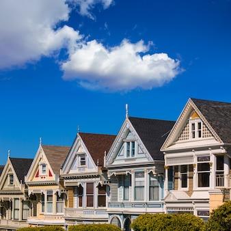 San francisco casas vitorianas em alamo square na califórnia