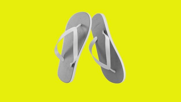 Sandálias brancas tropicais isoladas em amarelo