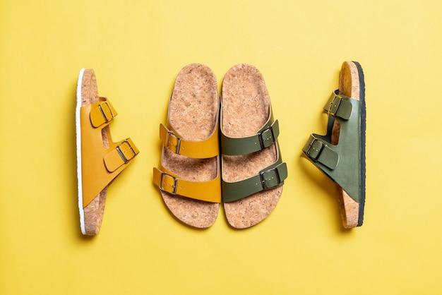 Sandálias de couro de moda masculina e feminina