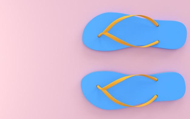 Sandálias de praia azul em um fundo rosa, cores pastel, vistas superiores, render 3d