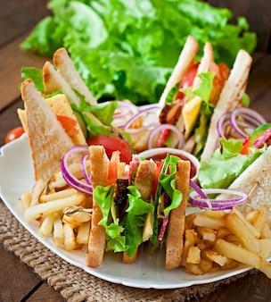 Sanduíche com queijo, pepino, tomate, carne defumada e salame. servido com batatas fritas.