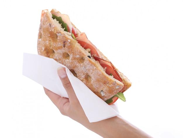 Sanduíche na mão