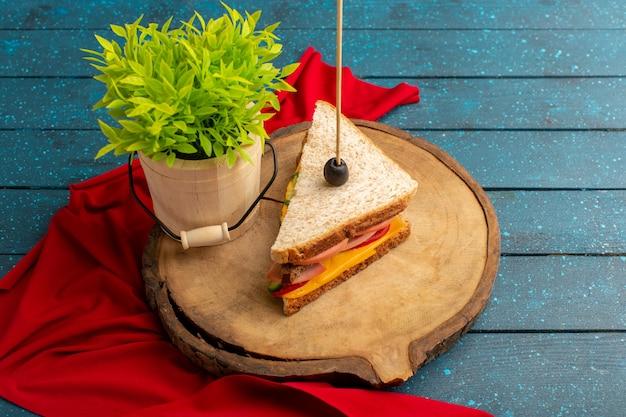 Sanduíche saboroso de vista frontal com presunto de queijo dentro com planta verde em madeira azul