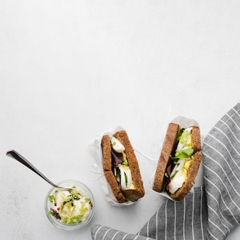 Sanduíches de torrada com espaço para texto