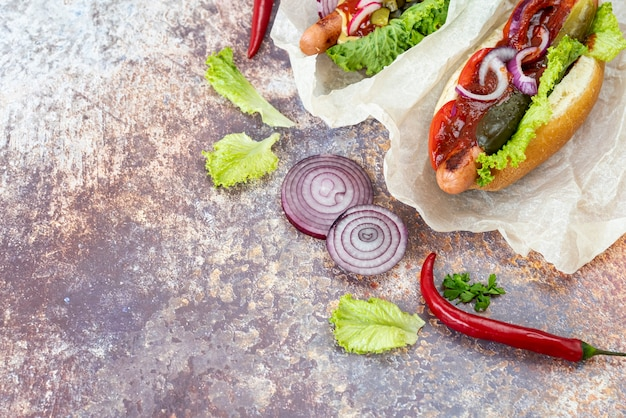 Sanduíches de vista superior com pimenta