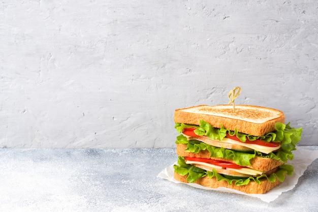 Sanduíches saborosos e frescos em uma mesa de luz cinza. copie o espaço.