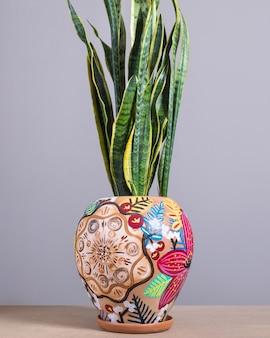 Sansevieria, dracaena trifasciata no vaso pintado à mão