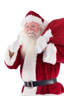 Santa gosta de levar seu saco no fundo branco