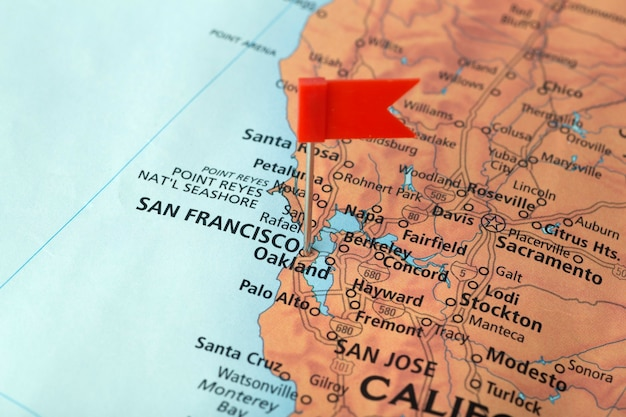São francisco e califórnia no mapa dos eua. viagem nos eua