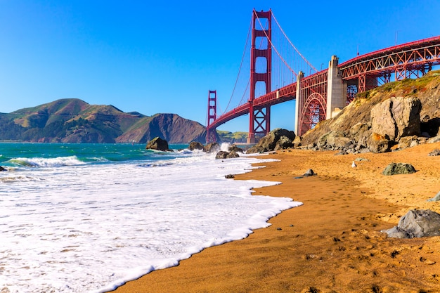 São francisco, ponte dourada portão, marshall, praia, califórnia