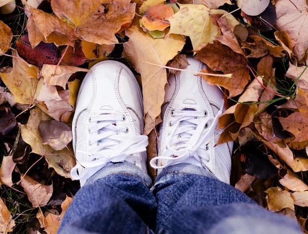 Sapatas brancas do esporte nas folhas de outono. fundo de outono