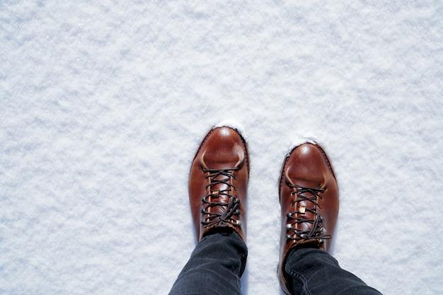 Sapatas da caminhada dos homens de brown na neve no dia de inverno ensolarado.