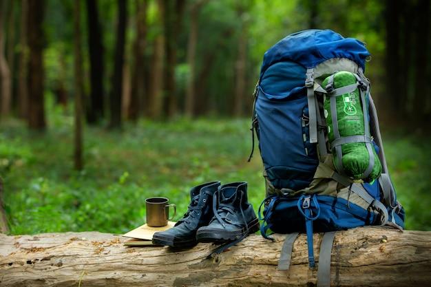 Sapatas do esporte e mochila cor azul na madeira na floresta