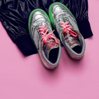 Sapatilhas mínimas swag moda de rua vista superior pink glam