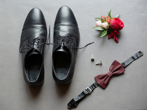 Sapatos acessórios de casamento masculinos botões de punho borboleta flor na lapela