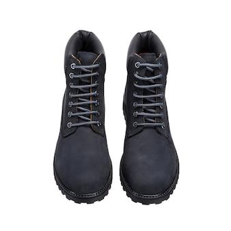 Sapatos de couro com atacadores no piso isolados em uma superfície branca