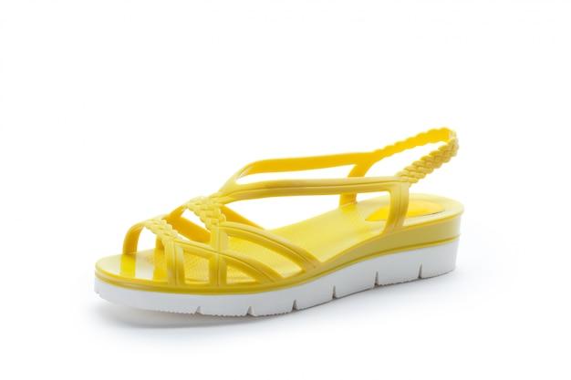 Sapatos de mulher com sola plana isolada no branco