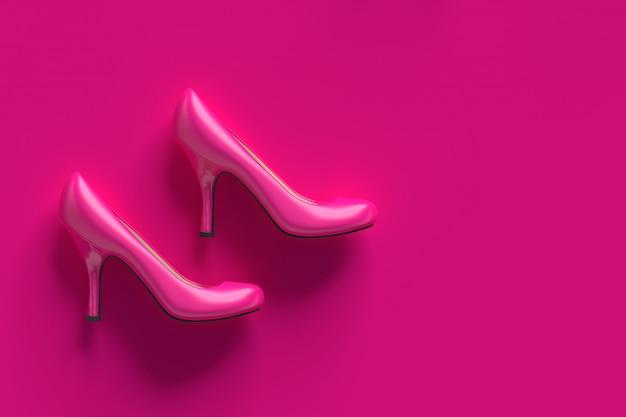 Sapatos de salto alto rosa de plástico