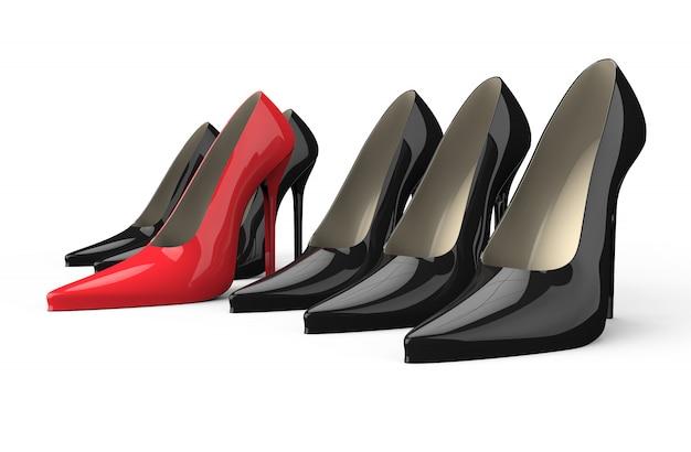 Sapatos de salto alto vermelho e preto