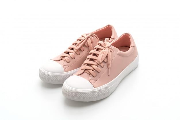 Sapatos de tênis rosa em branco