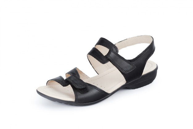 Sapatos femininos com sola plana, isolado no fundo branco