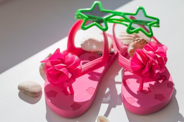 Sapatos rosa para crianças, chinelos infantis