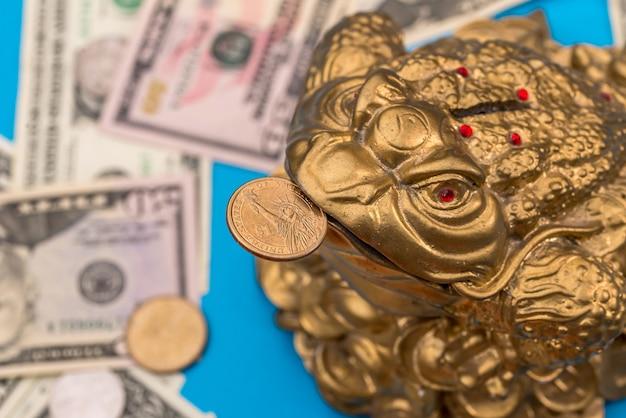 Sapo símbolo e moeda de dólar e notas isoladas em azul
