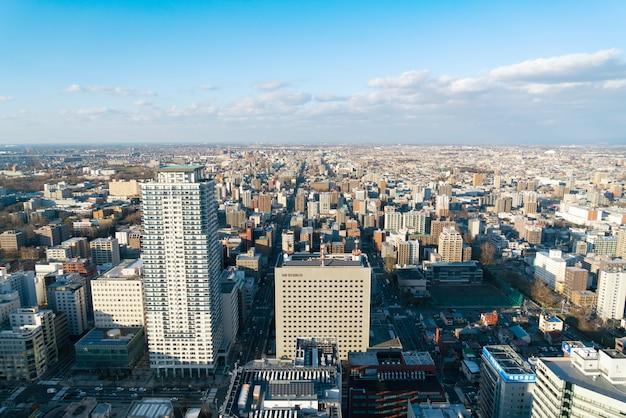 Sapporo hokkaido japão, novembro de 2018: vista da paisagem urbana de sapporo da torre sapporo jr