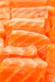 Sashimi de salmão no mercado fechar