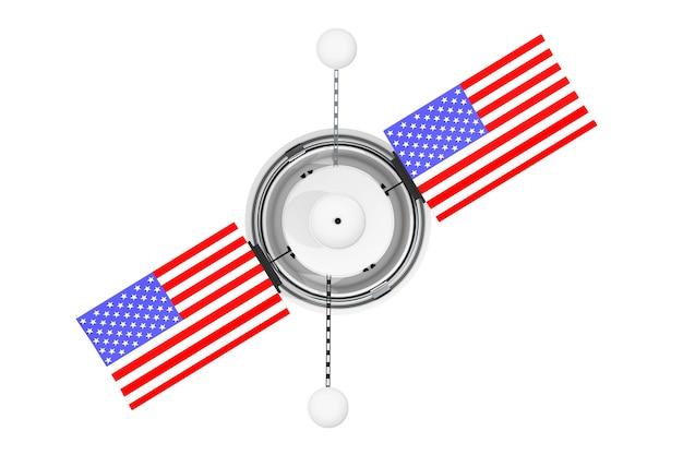 Satelite de navegação global do mundo moderno com a bandeira dos eua em um fundo branco. renderização 3d