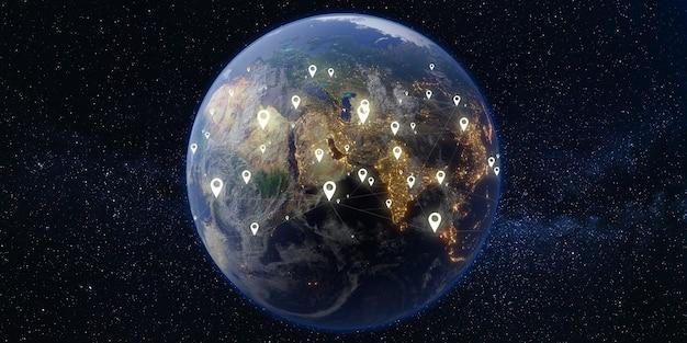 Satélite e comunicações terra e espaço via láctea fundo da galáxia ilustração 3d