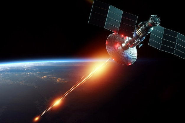 Satélite militar espacial, uma arma no espaço dispara um laser contra a parede da terra. ataque, tecnologia, guerra espacial. meio misto, copie o espaço. imagem fornecida pela nasa.