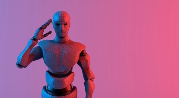 Saudação de wireframe de robô reconhece fundo vermelho gradiente violeta