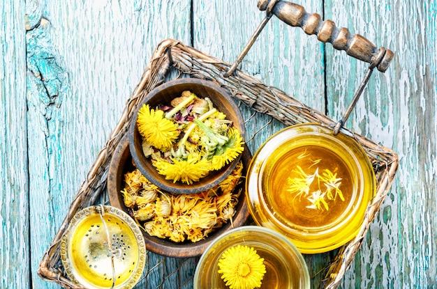 Saudável, dente-de-leão, mel, e, chá