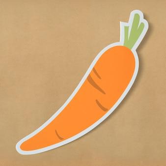 Saudável, nutritivo, cenoura, cortada, ícone