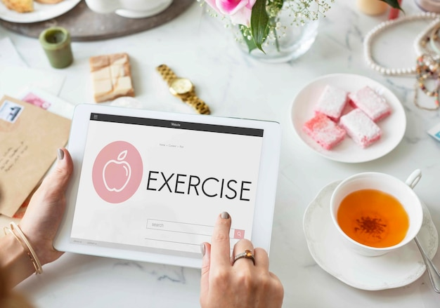 Saúde bem-estar dieta exercício conceito orgânico