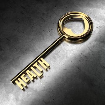 Saúde - chave dourada sobre fundo preto metálico. renderização 3d