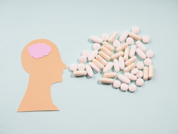 Saúde da cabeça de silhueta abstrata para projeto médico. saúde mental, conceito de distúrbio cerebral. cuidados com a família.