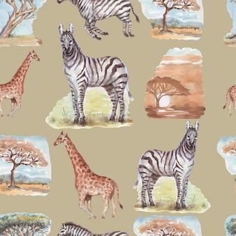 Savannah africa zebra girafa safari animais aquarela ilustrações desenhadas à mão