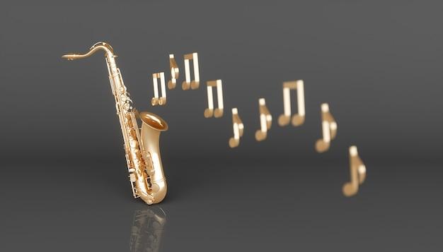 Saxofone dourado em um fundo preto, ilustração 3d