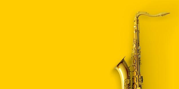 Saxofone em ouro amarelo