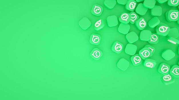 Scattered whatsapp logos 3d background