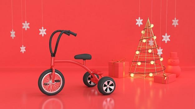 Scenechristmas vermelho feriado de ano novo miúdo vermelho triciclo, bicicleta abstrata árvore de natal caixa de presente certa parede vermelha piso renderização em 3d