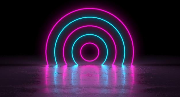 Sci-fi azul roxo rosa neon círculo brilhante forma redonda