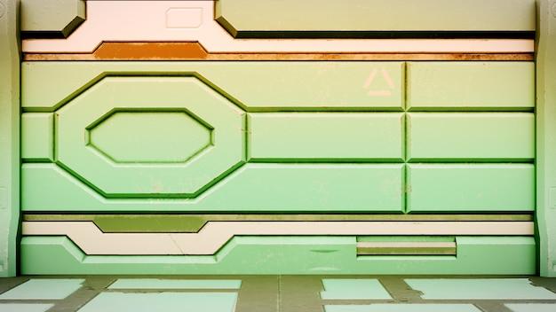 Sci-fi estação espacial corredor interior 3d rendem