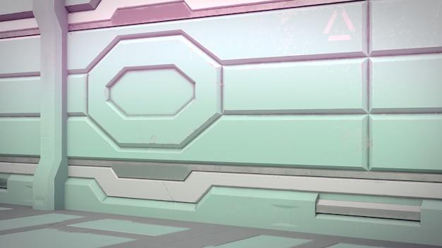 Sci-fi estação espacial corredor interior 3d