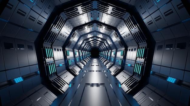 Sci-fi fundo corredor sala inteligente futuro abstrato renderização em 3d