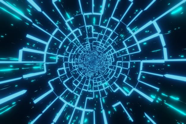 Sci-fi futurista abstrato alien space luzes brilhantes túnel de velocidade em buraco de minhoca renderização 3d