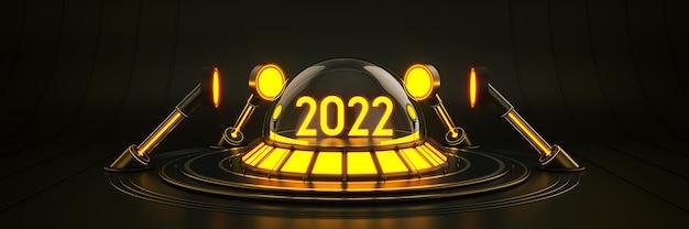 Sci fi futurista moderno vazio grande salão escuro alienígena garagem sci fi light 2022 letreiro de ano novo